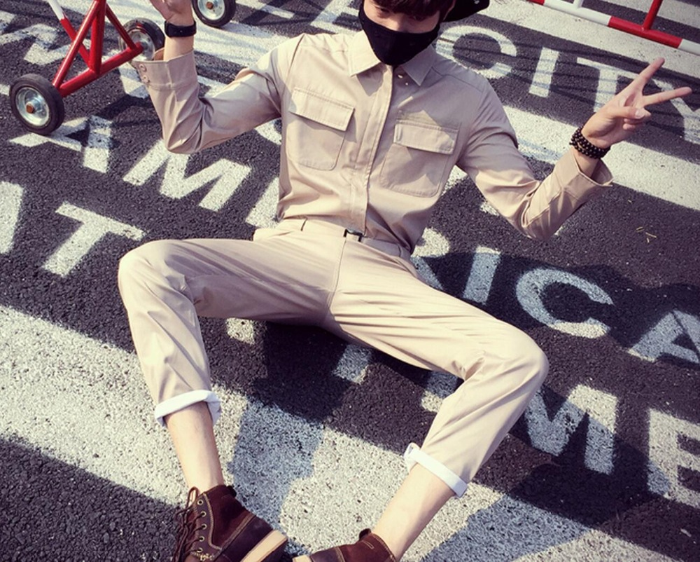 2018 Summer mens Slim overalls pants overalls tide brand personality pants Tooling Rompers Coverall singer costumes