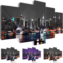 Canvas Painting Wall Art 5 Pieces New York City Construction Scenery Pictures Prints Night View Poster Home Decor Modular Framed