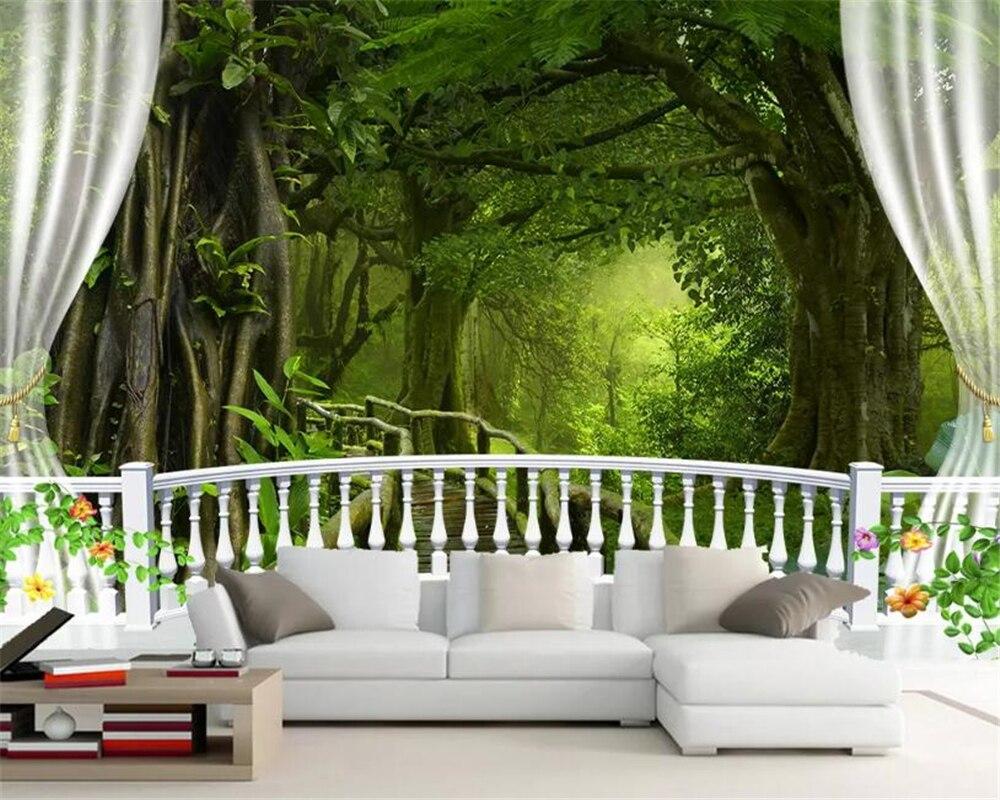 Beibehang Kustom 3D Wallpaper Pemandangan Alam Hijau Pohon Besar Hutan Gambar Balkon Pemandangan Latar Belakang Dinding