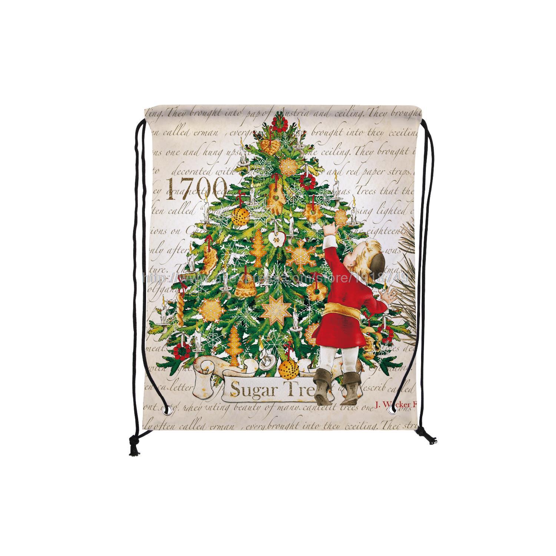 four pcs/lot childern pick sugar from christmas tree printed custom hanging drawstring bag xmas decoration ornament shopping bag