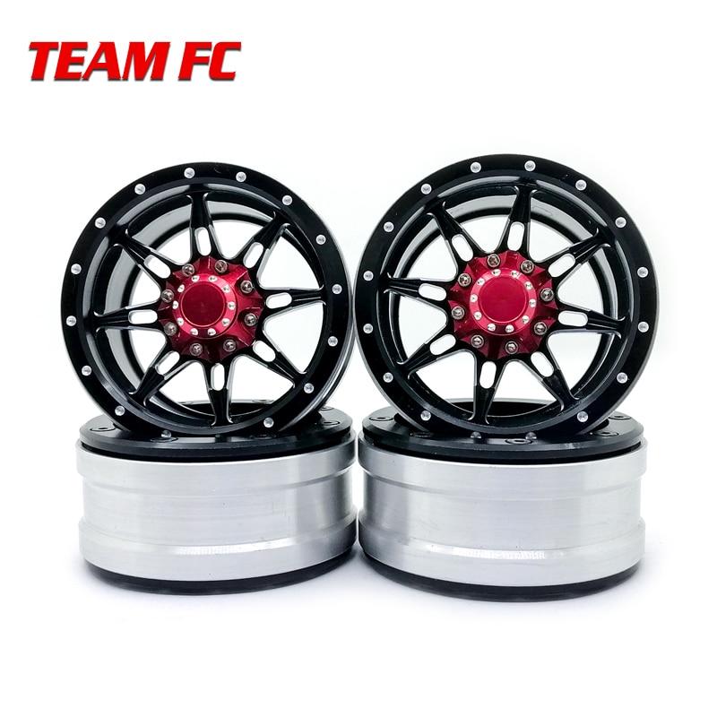 4PCS RC Rock Crawler Metal Wheel Rim 1 9 Inch BEADLOCK for 1 10 Axial SCX10