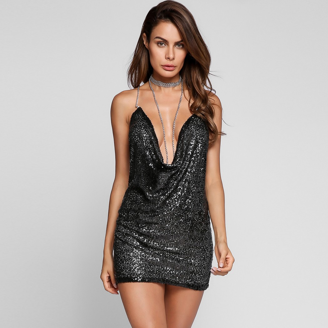 Cool Deep V Neck Backless Sexy Club Dress Sequined Bodycon Club Party Dresseschain Cowl Collar Bandage Dress Vestidos Mini Dresses From Deep V Neck Backless Sexy Club Dress Sequined Bodycon Club Party