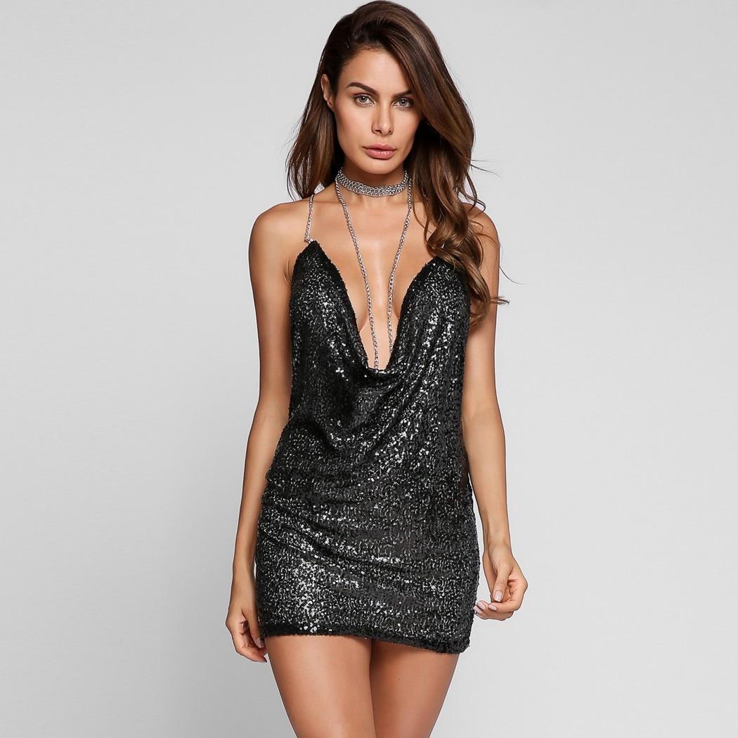 Tiefem v ausschnitt Backless Reizvolle Club Kleid Pailletten Bodycon ...