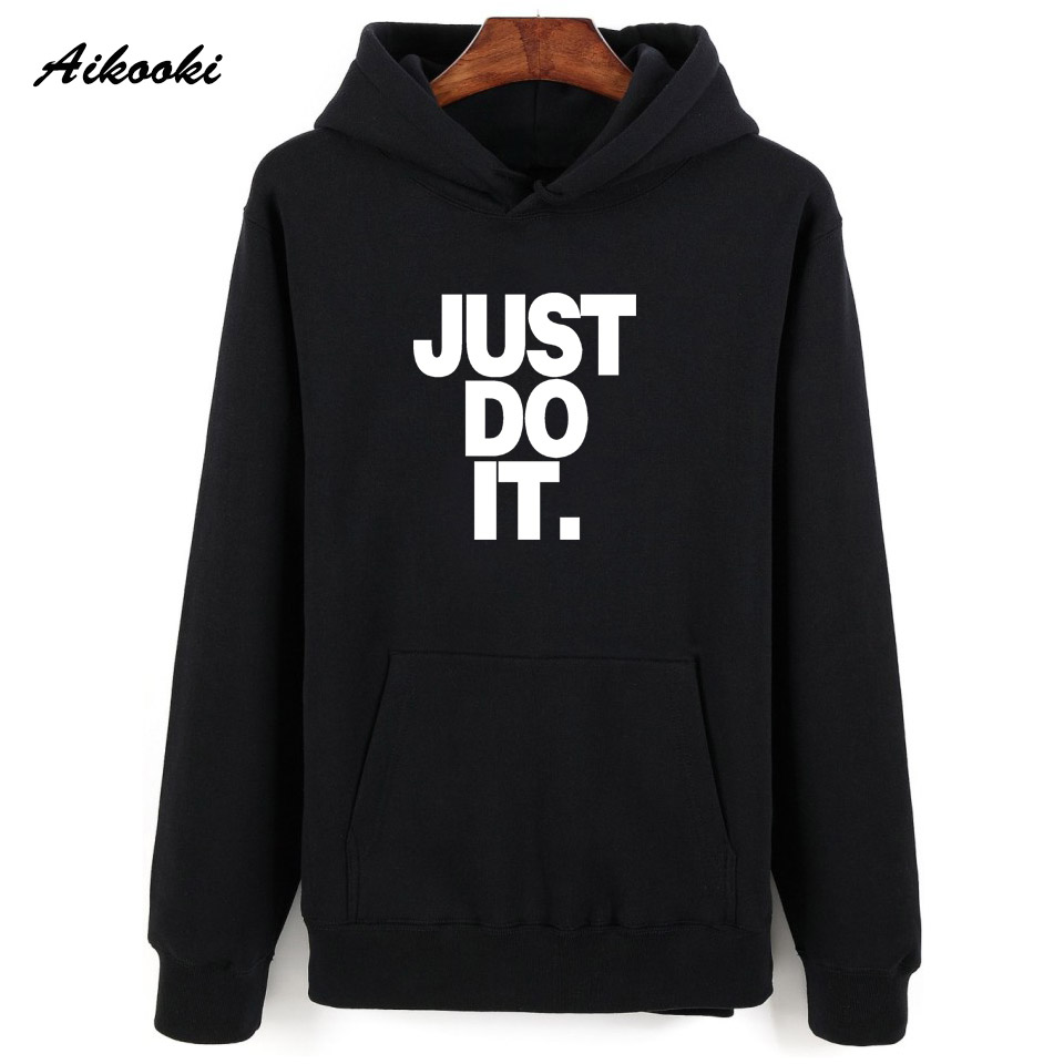 Aikooki Just Do It Hoodies Pullover 2018 Trendy Hoody Mens Hoodies Sweatshirts Autumn Spring Hip Hop Hooded Polluvers Jumpers
