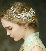 2016 Stunning Silver Rhinestone Bridal Tiara Handmade Wedding Hair Comb Accessories Flower Headpiece