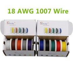 25 м ul 1007 18awg 5 цветовой гаммы коробка 1 коробка 2 пакет Электрические Провода кабельной линии авиакомпании Медь pcb провода