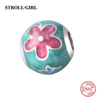 New 925 Sterling Silver Colour Charm Beads With Red Flower Enamel Fits Pandora Bracelets Charms Pendant Jewelry making Gifts