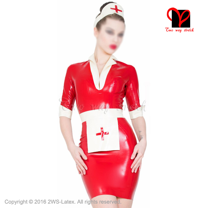 Sexy Latex infirmière robe et tablier équipement de tête en caoutchouc médecin uniforme à manches courtes combishort grande taille médical moulante XXXL QZ 046|latex sleeve|dress plus|playsuit plus size - title=