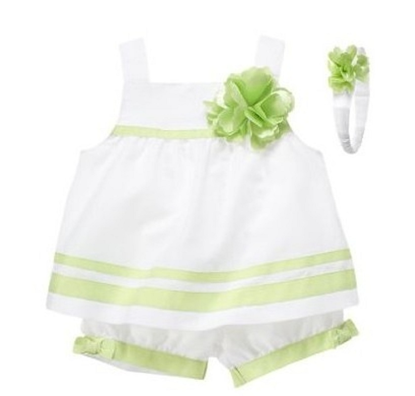Flower Green Baby Girl Jumper Pant Hairband Suit Girls Clothes Set Summer Cool Pant Baby Skirt White Lolita Tank Top Gallus
