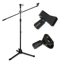 Universal Capacitor Microphone Bracket Floor Type Professional Double Headed Microphone Metal Stent Three Tripod Stage Mic