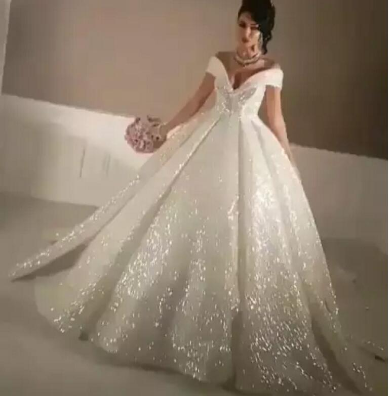 Us 239 99 Bling Ball Gown Wedding Dresses With Off Shoulder Chapel Train Glitter Glued Lace Cinderella Y Puffy Bridal Gowns 2019 In