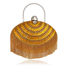 2016 new Korean exquisite handbag oval fringed crystal evening bags messenger star banquet dinner bag handbags purses