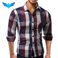 Brand 2017 Fashion Male Shirt Long Sleeves Tops Casual Lattice Business Mens Dress Shirts Slim Men
