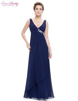 Bridesmaid Dresses Ever Pretty HE09981 V-neck Flow Ribbon Sequined Waist 2017 Summer Style Fast Shipping Long Sleeveless Dress