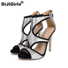 DiJiGirls Sexy Sequined Cloth Geometric Hollow Strip style Thin High Heels Shoes Gladiator Gingham Cover Heel Sandals Woman