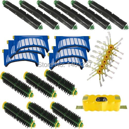 For iRobot Roomba 500 600 Series Accessory Kit - Includes: Battery 6 Beater Brushes 6 Bristle Brushes 6 Filters 6 Side Brushes