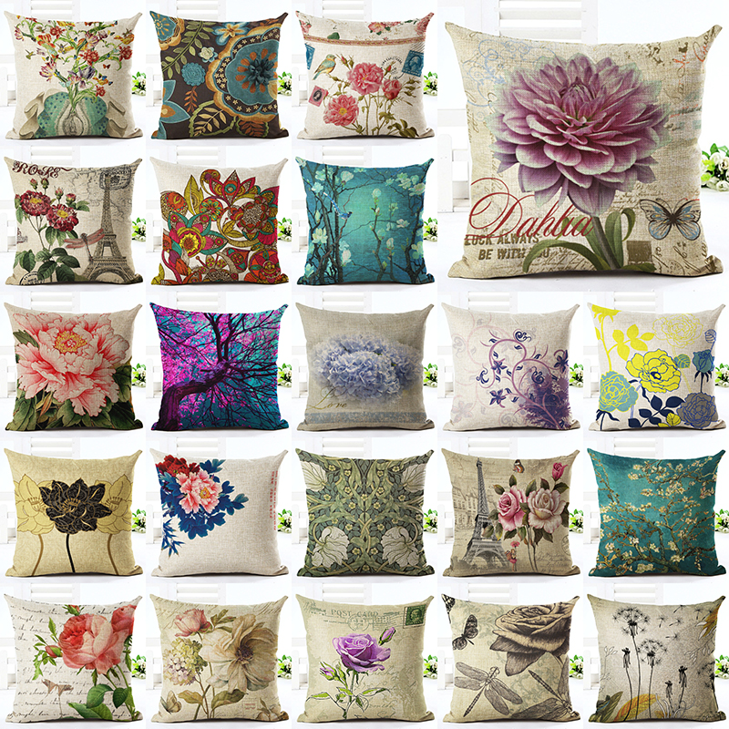 <font><b>Elegant</b></font> Floral Printed Linen Cotton Square 45x45cmRetro Floral <font><b>Home</b></font> <font><b>Decor</b></font> Houseware Throw Pillow Cushion Cojines Almohadas