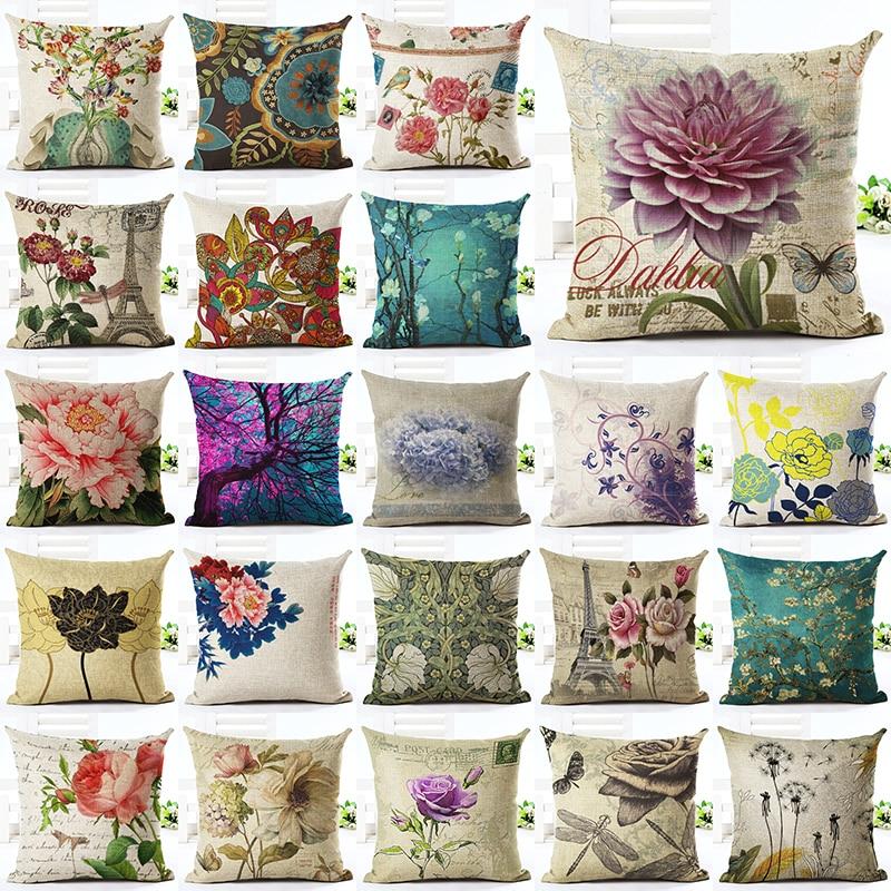<font><b>Elegant</b></font> Floral Printed Linen Cotton Square 45x45cmRetro Floral <font><b>Home</b></font> <font><b>Decor</b></font> Houseware Throw Pillow Cushion Cojines Almohadas