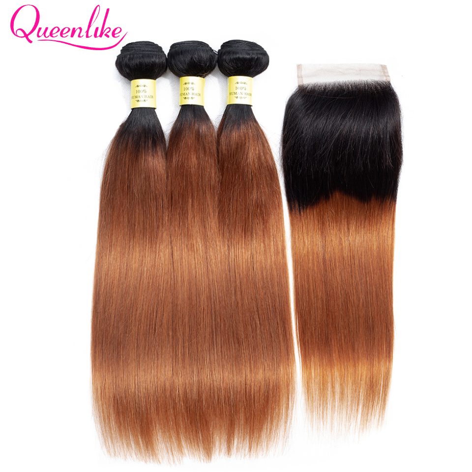 QueenLike/продукты из натуральных волос, 3 4 пучка волос с закрытыми волосами, не Реми, цвет 1B 30, перуанские прямые пучки волос с закрыванием