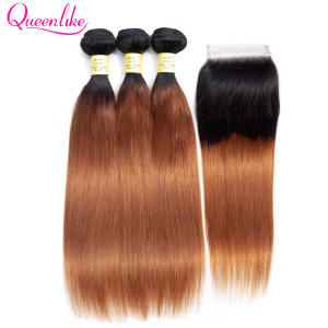 Queenlike Ombre Bundles Closure Human-Hair-Products Straight Color-1b-30 Peruvian 3-4