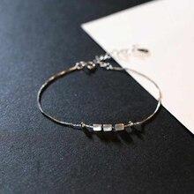 Ruifan Elegant 925 Silver Woman Bracelets Lucky Charm Slim Chain Bracelet Ladies Adjustable for Girls Ankle YBR038