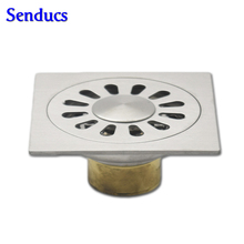 Free shipping Suqare SUS 304 stainless steel floor drain with stainless steel drainer of 10*10cm balcony floor drains