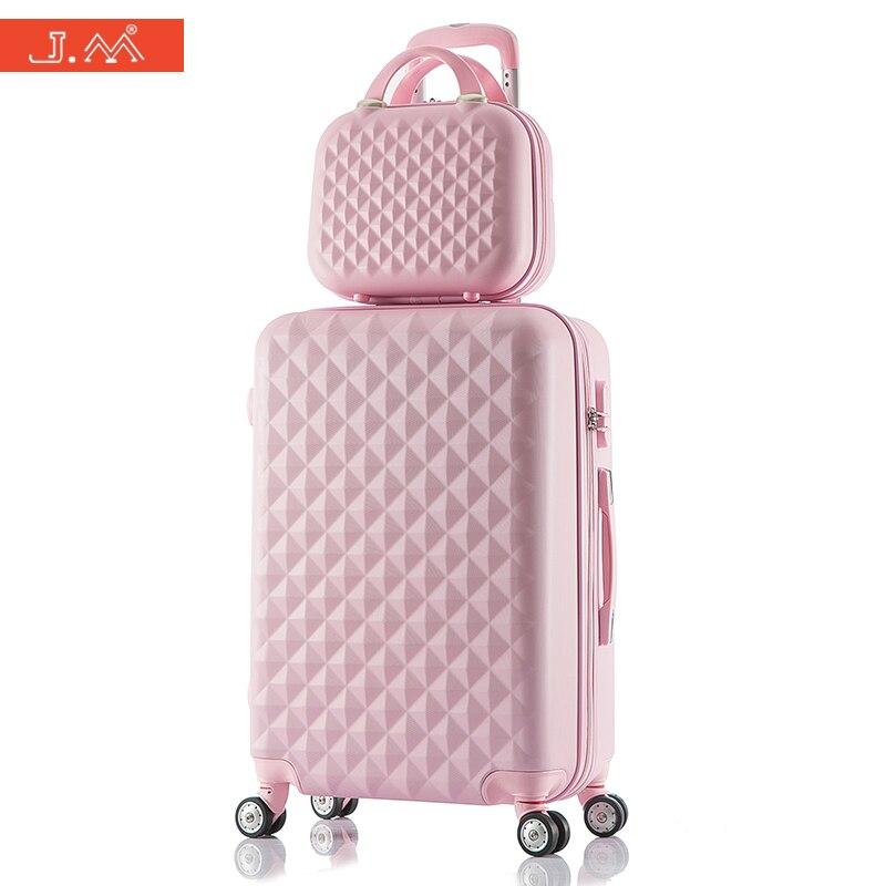 J.M Diamond Pattern Carry on Luggage Sets 20/24 ABS Rolling Spinner Suitcase Women Hello Kitty Boarding Box Bavul KoffersTrolley