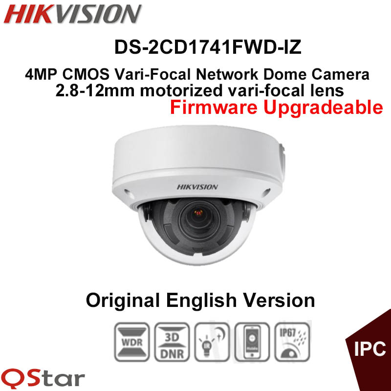 Hikvision Original English CCTV Camera DS-2CD1741FWD-IZ 2.8-12mm Motorized VF lens 4MP Dome IP Camera POE IP67 IR30m Upgradeable hikvision ds 2de7230iw ae english version 2mp 1080p ip camera ptz camera 4 3mm 129mm 30x zoom support ezviz ip66 outdoor poe