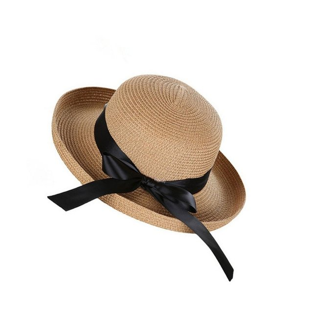 00b5b199b07 Korean Style Women Summer Sun Hat Straw Bow tie Beach Hat Fashion Vintage  Cap UV Protection Lady Girls Caps Drop Shipping