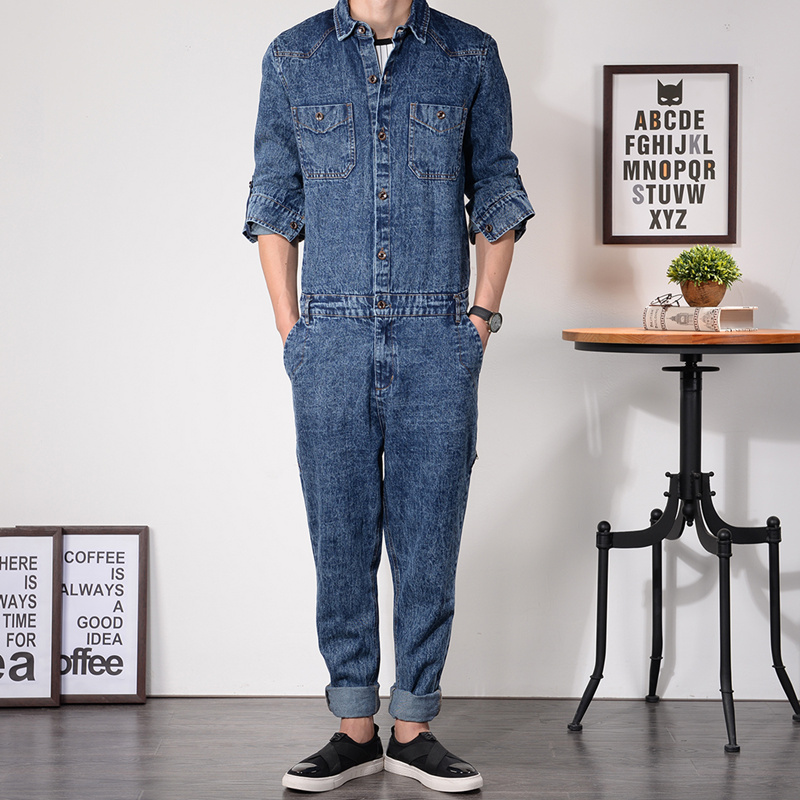 f1de4ea43705 Mens Denim Jumpsuit New Fashion Denim Overalls Men Full Sleeve Slim Fit  Jumpsuits Working Clothes Cool Male Overalls MDB02-in Jeans from Men s  Clothing on ...