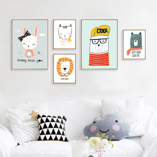 Nordic Cartoon Animals Art Canvas Painting Posters Prints Baby Nursery Decor Pictures For Kid S Room Modern