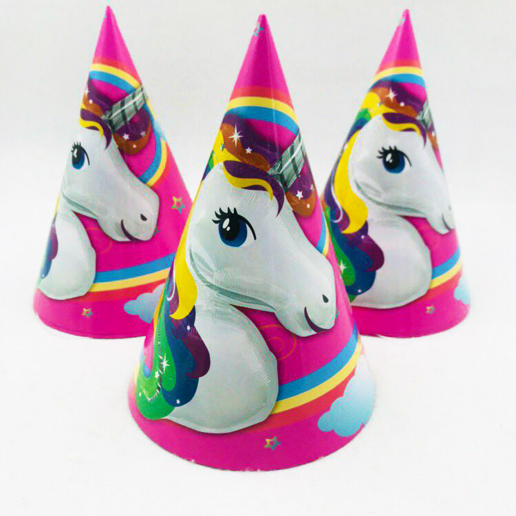 6pcs/set Unicorn Theme Paper Hat Cartoon cap Lovely kid's Party Cap Child Event Kids Party Supplies birthday party decoration