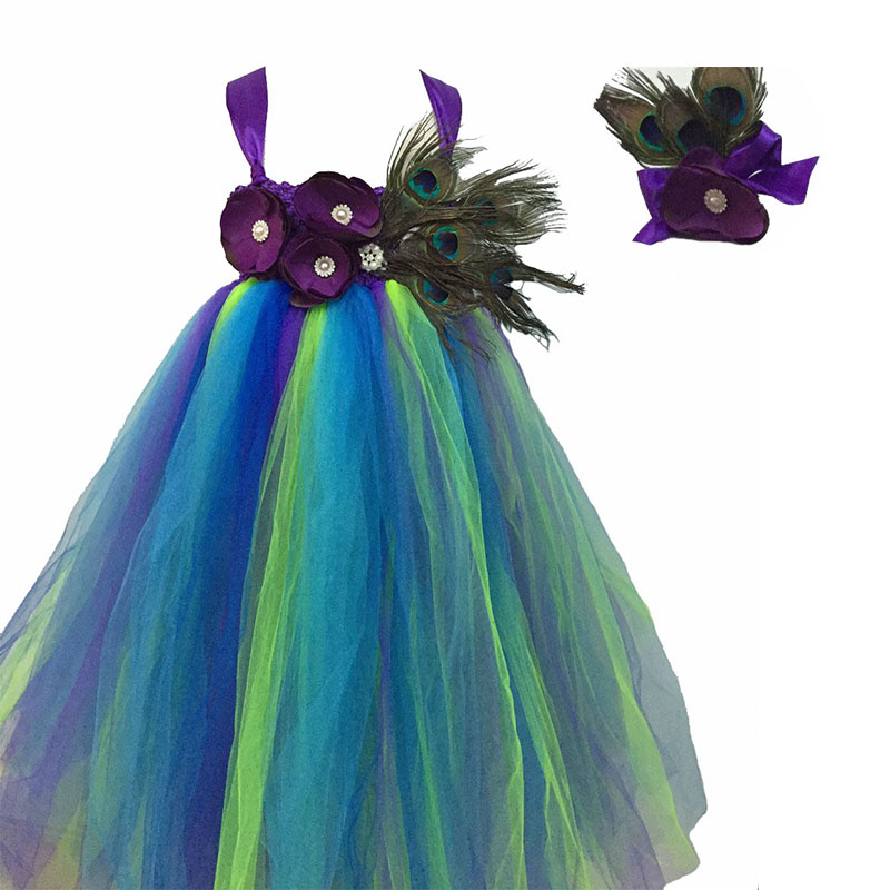 Princess Girls Peacock Tutu Dress Handwork Real Peacock Feather Flower Girls Ball Gown Dresses For Photo Props Birthday Wedding beibehang chinese peacock feather flower