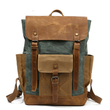 Women Backpack Retro Contrast Oil Wax Waterproof Canvas Bag Travel Computer Schoolbag Large Capacity