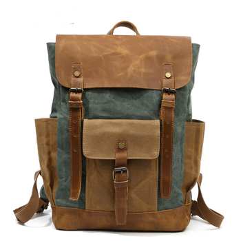 Women Backpack Retro Contrast Oil Wax Waterproof Canvas Bag Travel Backpack Computer Schoolbag Large Capacity
