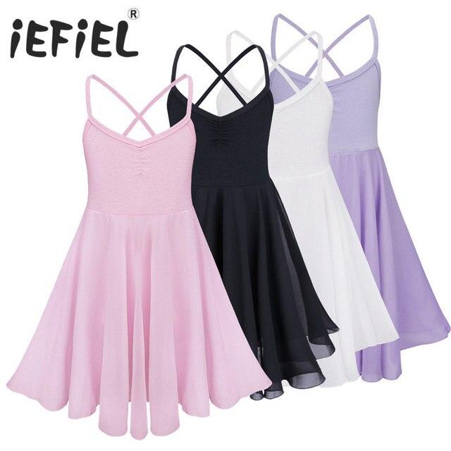 IEFiEL/платье без рукавов Для детей Танцы балетное платье-пачка девушки тюль одежда для бальных танцев платье трико балерины Одежда для танцев