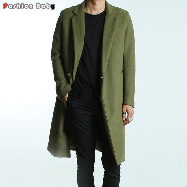 Verde dos homens Blusão de Lã Trench Coats Slim Fit Marca de Moda Estilo Britânico Casaco de Outono Inverno