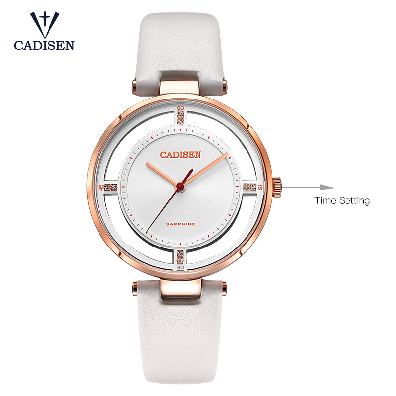 CADISEN 2019 Fashion Summer Womens Watches Luxury Brand Leather Band Ladies Dress Quartz Wristwatches Waterproof Gift Box