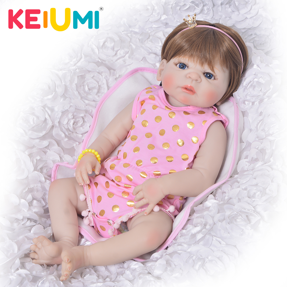 KEIUMI Lifelike 23 Inch Reborn Baby Doll Full Vinyl Body Fashion Princess Girl Babies Newborn Doll