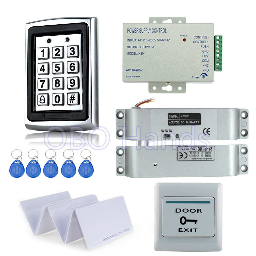 ФОТО Full completed door access control system kit 7612 metal keypad+electric drop bolt lock+power supply+exit button+10pcs key cards