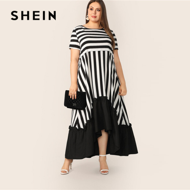 SHEIN Plus Size Black And White High Low Hem Striped Dress 2019 Women Summer Modest Casual Ruffle Hem High Waist A Line Dresses