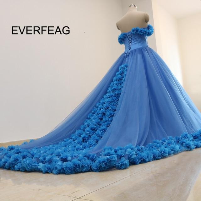 0d4062cb65a Beautiful Blue Ball Gown Quinceanera Dresses Sweetheart Long Train Flowers  Sweet 16 Dresses vestido de festa 2018 Custom Made