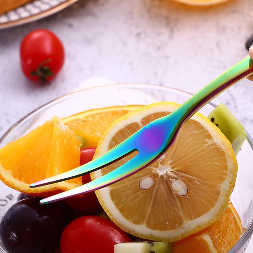 1PC Fruit Fork Stainless Steel Upscale Dinnerware Flatware Fruit Fork Luxury Cutlery Teaspoon 2O0527