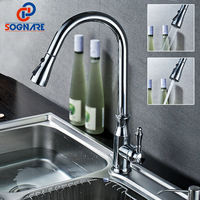 SOGNARE Kitchen Faucets Brass Silver Single Handle Pull Out Rotation Spray Mixer Tap Torneira Cozinha Cold