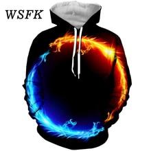 WSFK Mens 3D Print Hoodie Harajuku Casual Street Sweatshirt Running Fitness Men and Women Jacket Coat