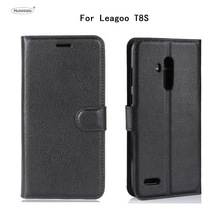 HUDOSSEN For Leagoo T8S Luxury Flip Case PU Leather Back Cover Coque For Leagoo T8s 5.5 Protective Phone Housing Para цена