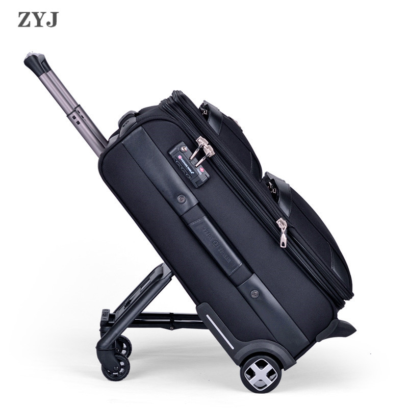 ZYJ Business Travel Rolling Luggages Soft Airplane Suitcase TSA Lock Clothing Carry On Trolley Fabric Luggage 20 24 Inches