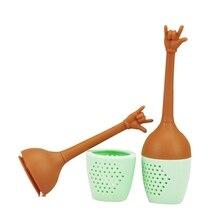 ФОТО silicone tea infuser hand gesture tea fliter tea bag reusable strainer diffuser for loose leaf tea