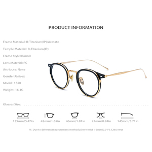 Image 4 - B Titanium Acetate Eyeglasses Frame Men High Quality Vintage Round Optical Frames Eye Glasses for Women Spectacles Eyewear 1850