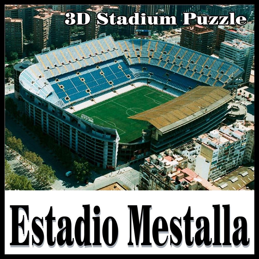 Clever & Happy 3D pussel fotbollsstadion Mestalla stadion EstadiodeMestalla pusselmodell Mestalla Spel Leksaker Halloween Jul